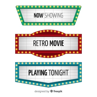 Retro theater tekenen collectie in plat design