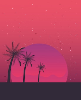 Retro toekomstige label met palmen