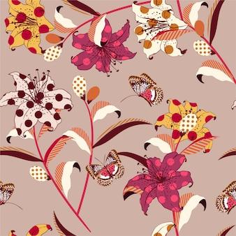 Retro trendy vector bloemen naadloos patroon