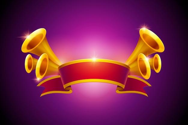 Retro trompetten en rood lint elementen voor publiciteit op paarse achtergrond