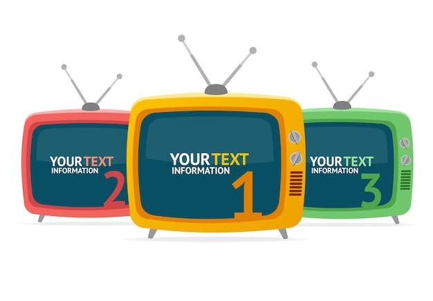 Retro tv-optiebanner kan worden gebruikt voor de indeling van de werkstroom, nummeropties.
