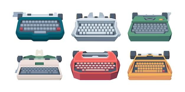 Retro typen. typ toetsenbord brief oude machines voor schrijvers vectorillustratie. uitgeverij apparatuur, schrijfmachine en toetsenbord collectie
