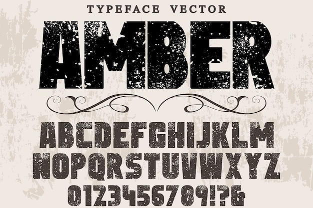 Retro typografie labelontwerp amber