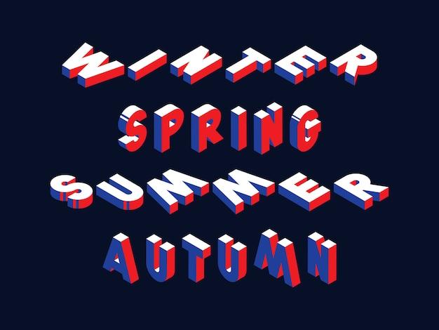 Retro typografie met woorden winter, lente, zomer en herfst in geometrische 3d-vormstijl met blauwe en rode kleuren