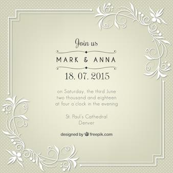 Retro uitnodiging huwelijk met bloemen details