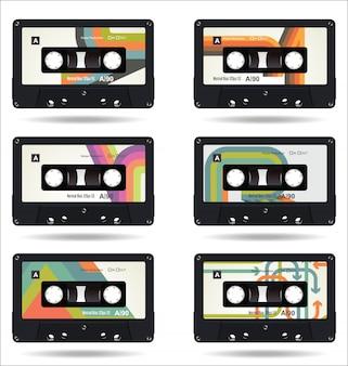 Retro uitstekende cassetteband isoleerde witte achtergrond