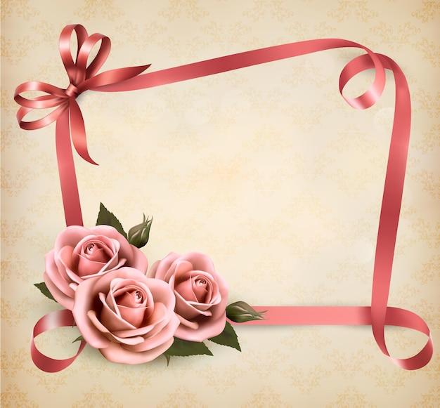 Retro vakantieachtergrond met roze rozen en linten.