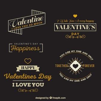Retro valentijn badges met een mooie uitdrukking