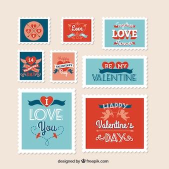 Retro valentijn dag stempels collectie