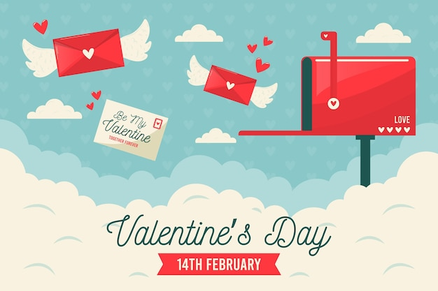 Retro valentijnsdag behang