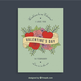 Retro valentijnskaart flyer ontwerp
