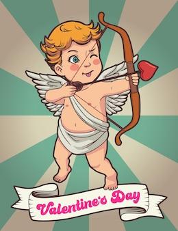 Retro valentine, cupido met love arrow
