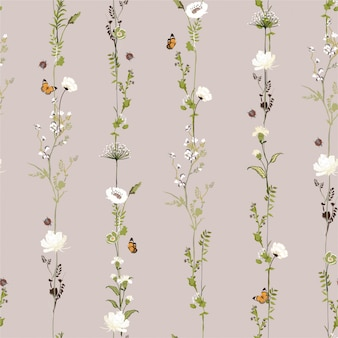 Retro van de de tuinbloem van de streep verticaal rij botanisch naadloos patroon in vector modieus illustratieontwerp voor manier, stof, web, behang en alle drukken