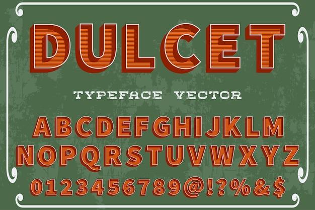 Retro van letters voorziend etiketontwerp dulcet