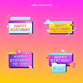 Retro vaporwave verjaardagslabels met kleurovergang