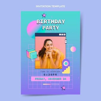 Retro vaporwave verjaardagsuitnodiging met kleurovergang