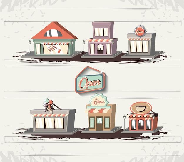 Retro vector de illustratieontwerp van stijl van de opslagstijl pictogrammen
