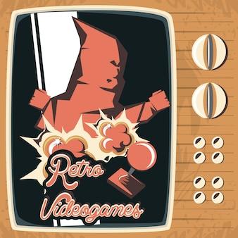 Retro vector de illustratieontwerp van videogame retro