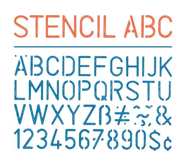 Retro vector grunge stencil alfabet en cijfers op wit