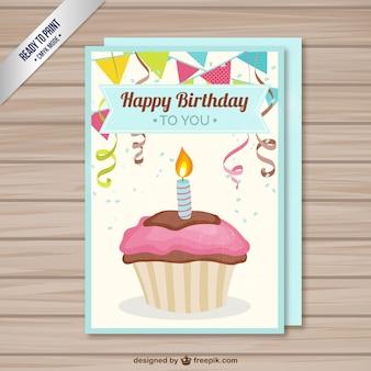 Retro verjaardagskaart met een cupcake