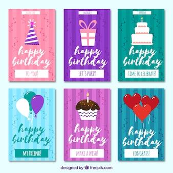 Retro verjaardagskaarten set