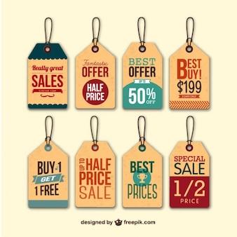 Retro verkoop tags hangen