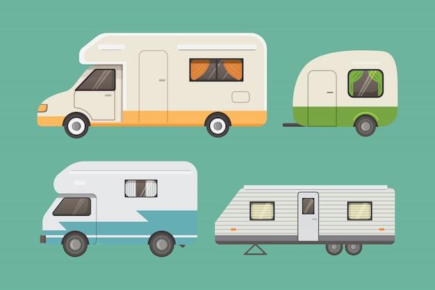 Retro verzameling campertrailers. auto aanhangers caravan. toerisme.