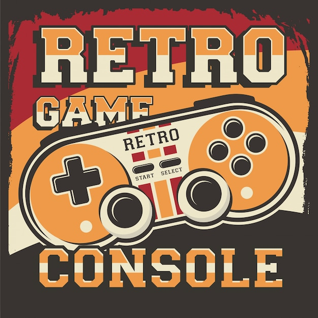 Retro video game console signage poster