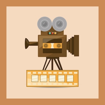 Retro videocamera en film tape pictogram
