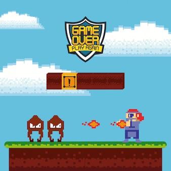 Retro videogame arcade kaart achtergrond