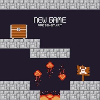 Retro videogamelandschap met pixelated terrein