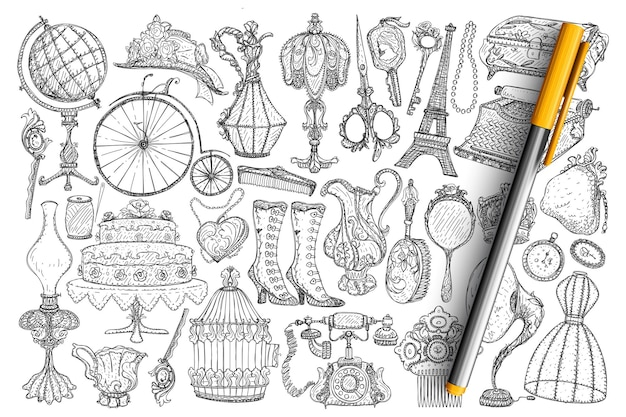Retro vintage accessoires doodle set. verzameling van handgetekende vintage lampen, accessoires, decoraties, schoenen, kleding, telefoon, spiegels, schaar grammofoonwielen geïsoleerd