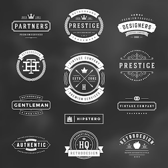 Retro vintage badges en logo's instellen vector designelementen