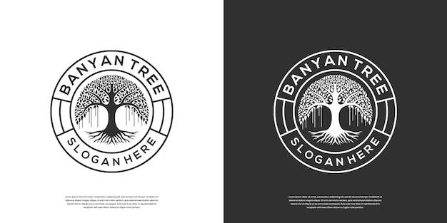 Retro vintage banyanboom logo sjablonen