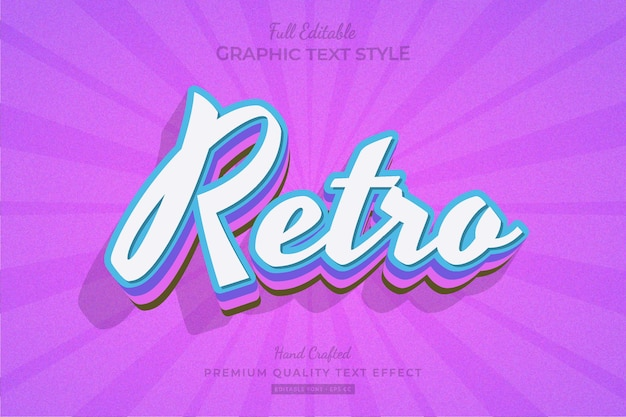 Retro vintage bewerkbare premium teksteffect lettertypestijl
