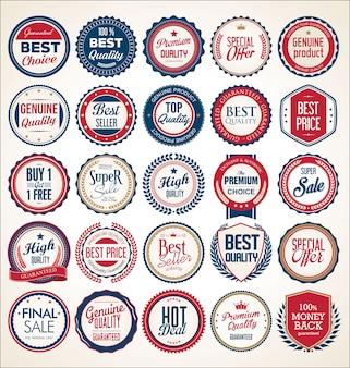Retro vintage blauwe en rode badges en labels