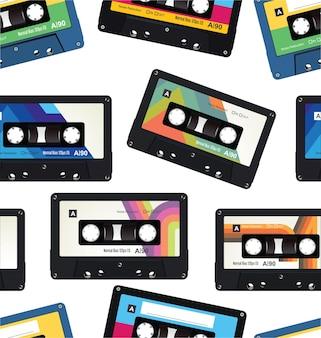 Retro vintage cassette tape naadloze patroon.