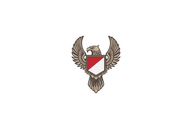Retro vintage eagle hawk falcon garuda bird met shield logo design vector