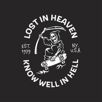 Retro vintage embleem logo met grim reaper rijden skateboard illustratie