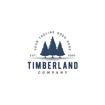 Retro vintage evergreen, pines, spruce, cedar trees-logo