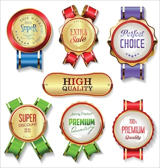 Retro vintage gouden badges en labels-collectie