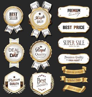 Retro vintage gouden badges etiketten badges en schilden