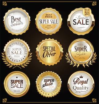Retro vintage gouden badges etiketten en schilden