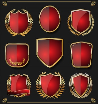 Retro vintage gouden badges labels en schilden