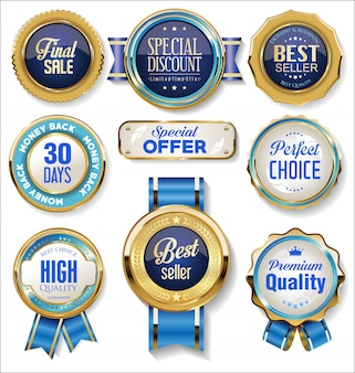 Retro vintage gouden en blauwe badges en labels-collectie