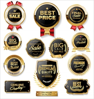 Retro vintage gouden en zwarte badges