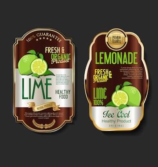 Retro vintage gouden labels voor biologisch fruitproduct