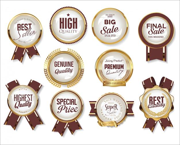 Retro vintage gouden verkoop badges en labels