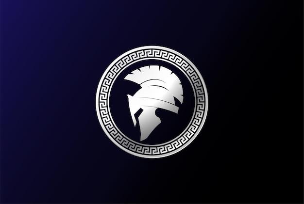 Retro vintage griekse sparta spartaanse helm voor griekse krijger logo design vector