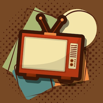 Retro vintage halftone grungestijl van het televisieapparaat